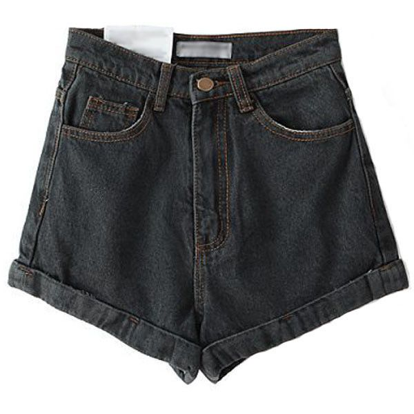 Black Grey High Waist Roll-up Denim Shorts ($25) ❤ liked on Polyvore featuring shorts, high-waisted denim shorts, stretchy jean shorts, stretch denim shorts, high-waisted jean shorts and highwaisted shorts