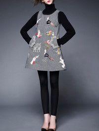 Embroidered Wool Mini dress