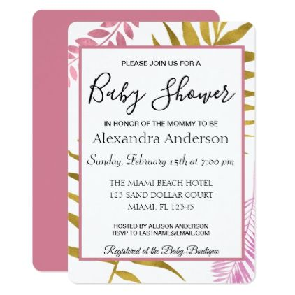 Rose gold tropical floral baby shower card invitation ideas rose gold tropical floral baby shower card negle Image collections