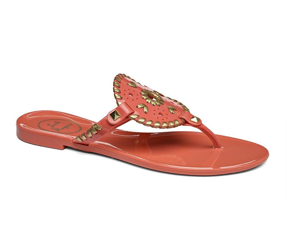 651ef463f1031 JackRogers Georgica Jelly Sandal in Fire Coral   Gold   49