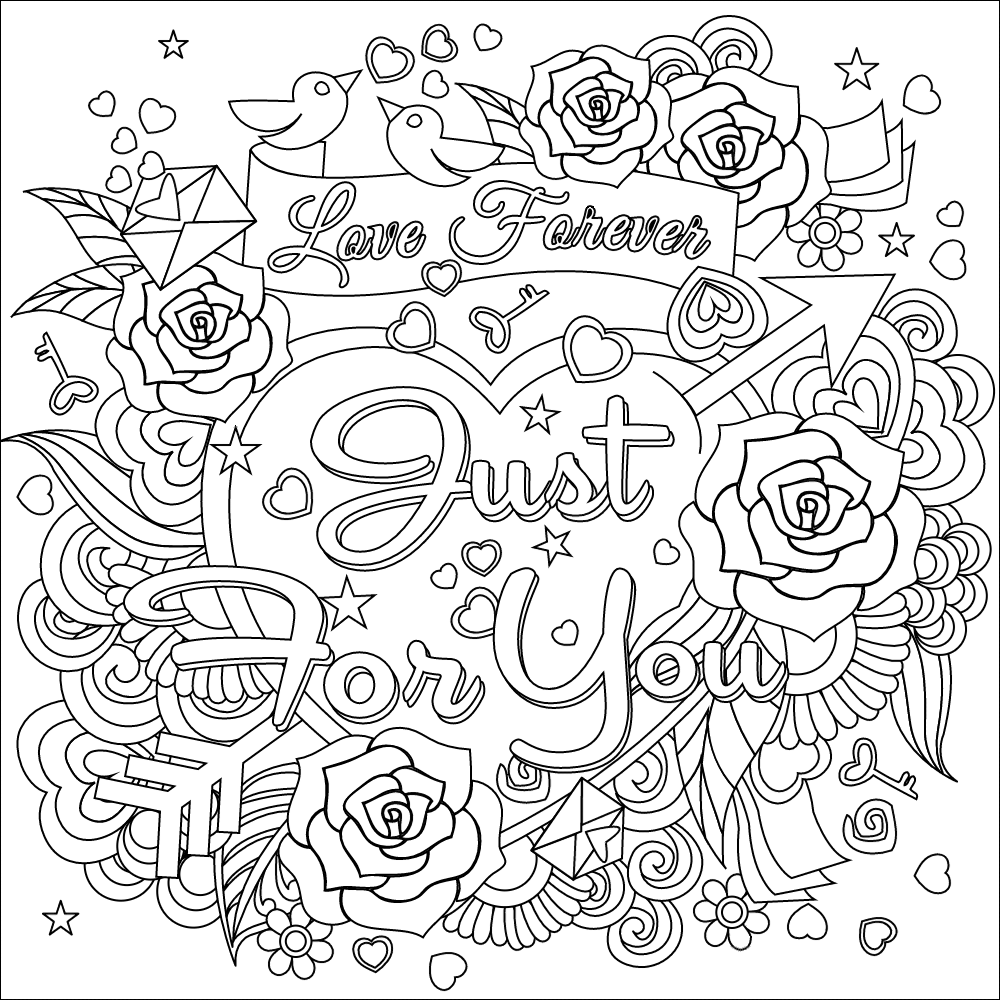 Love forever coloring page ADULT COLOR Coloring pages