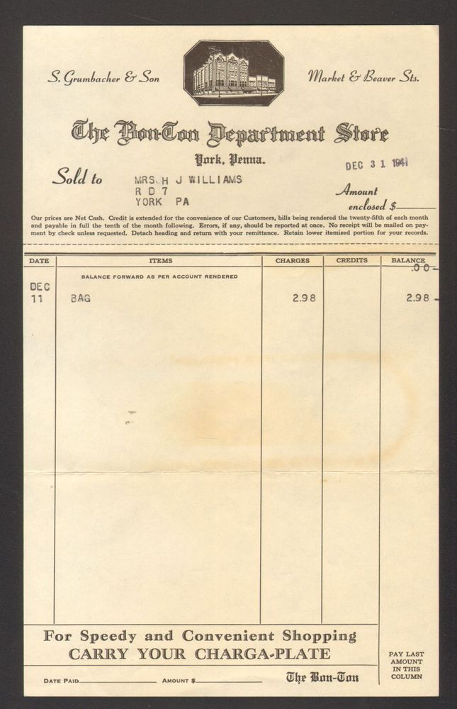 1941 Letterhead Billhead Receipt Invoice The Bon Ton Department - invoice letterhead