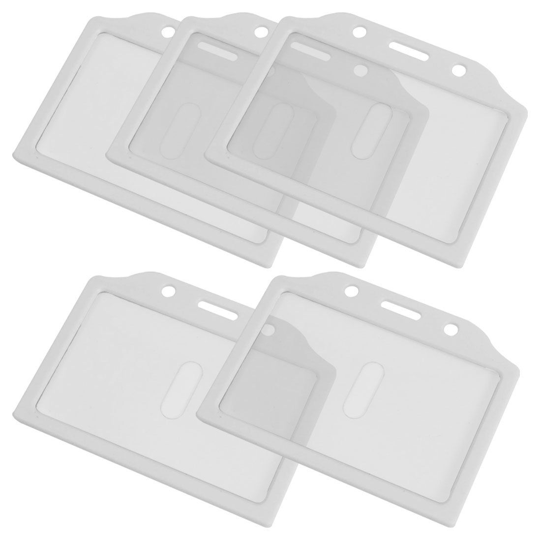 5PCS White Clear Plastic Business Badge Credit Card Holder Case for ...