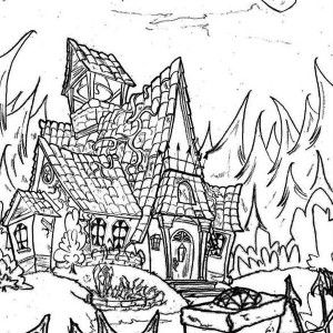 Haunted House, Haunted House In The Middle Of Jungle Coloring Page ...