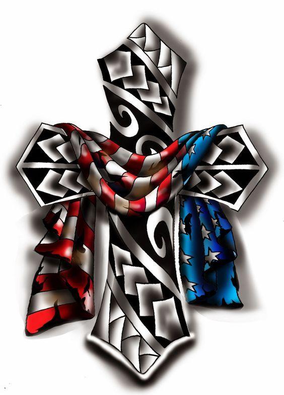 Veggiemuse Tattoos American Flag Draped Over A Cross