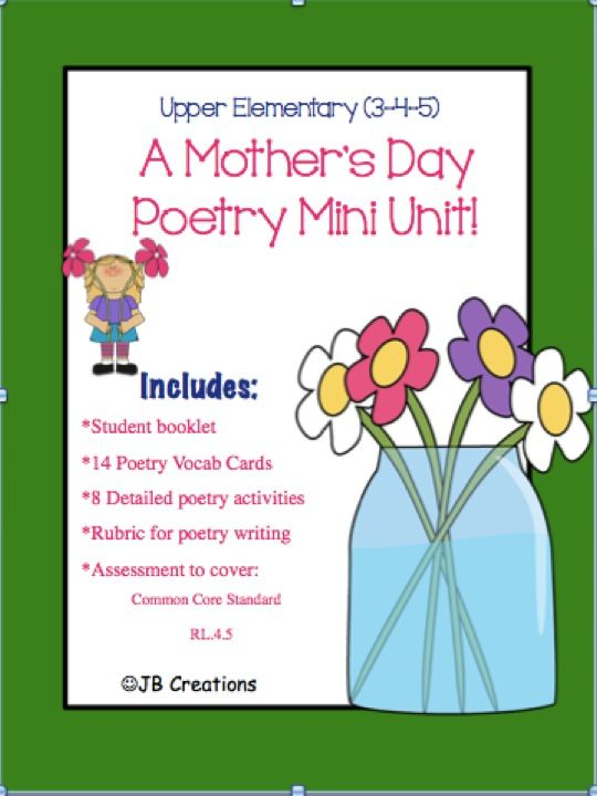 mother 39 s day mini poetry unit for 4th grade adaptable for 3rd 5th tpt products special. Black Bedroom Furniture Sets. Home Design Ideas