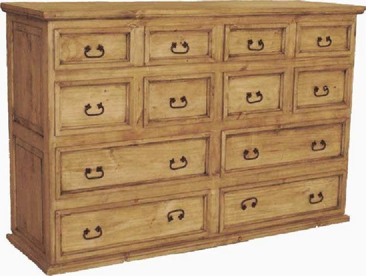 Hidalgo 12 Drawer Rustic Pine Dresser