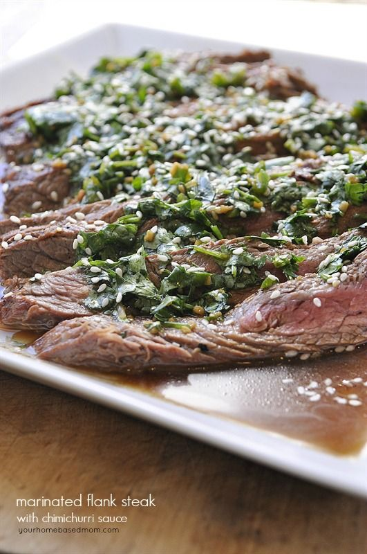 marinated flank steak with chimichurri sauce rezept. Black Bedroom Furniture Sets. Home Design Ideas
