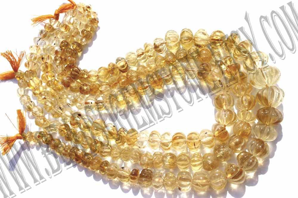 Citrine Carved Melon (Quality C) / 7 to 11 mm / 39 to 41 Grms / 36 cm / CI-132 by beadsogemstone on Etsy