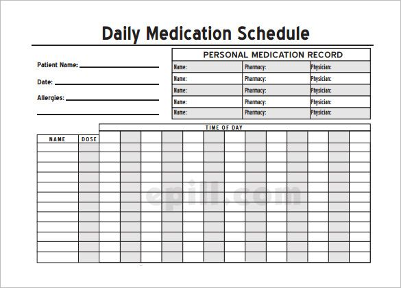 Medication Schedule Template - 8+ Free Word, Excel, PDF, Format - allergy list template