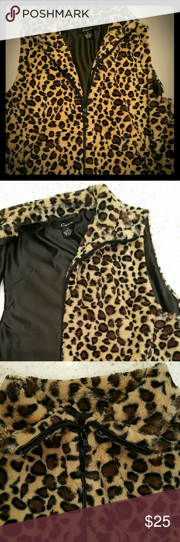 Faux Fur Leopard Vest Sleeveless women's leopard print vest, good condition, zip front, side pockets, fully lined,  worn a few times. Jackets & Coats Vests