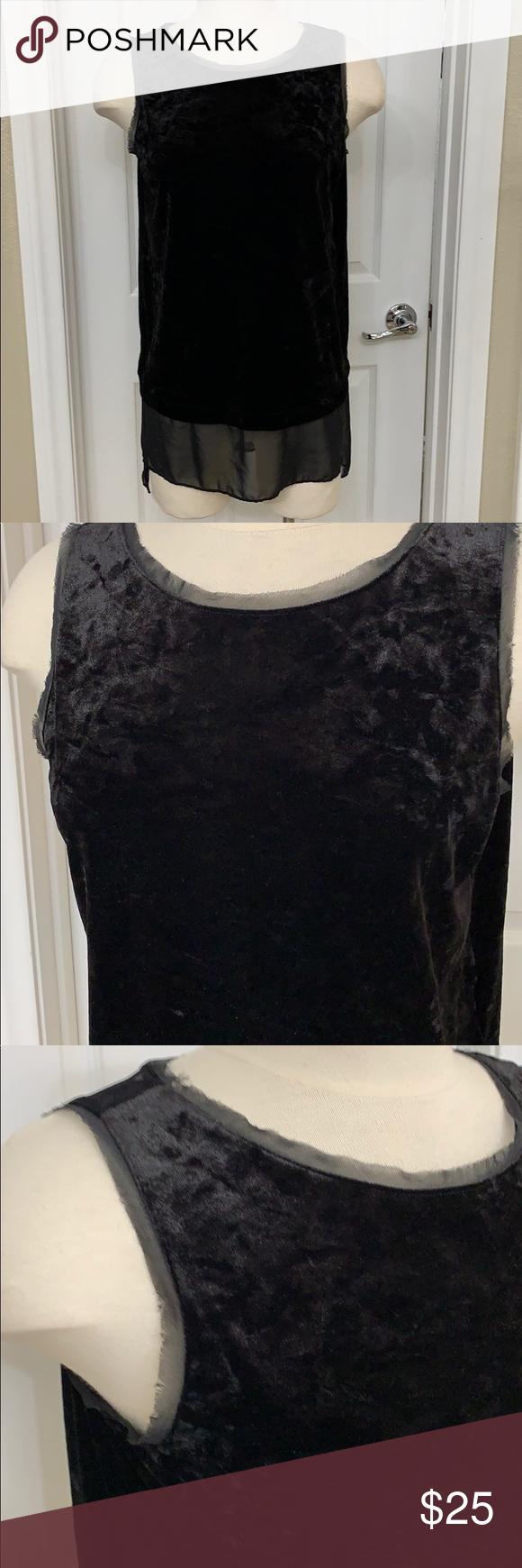 Vera Wang Sleeveless Velour & Sheer Tunic Top Med Simply Vera Black Velour & Sheer Tunic Top Some St...