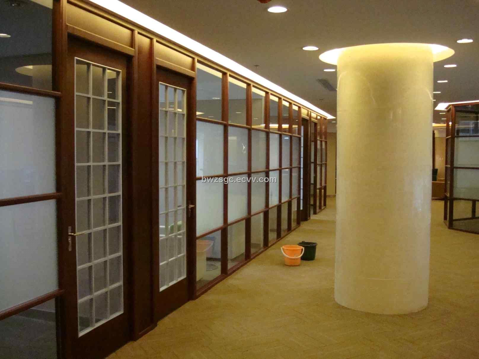 Office Design With Wood Trim Glass Wall Medium 80 X 80
