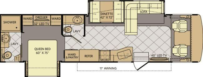 Fleetwood Bounder 36E Floorplan