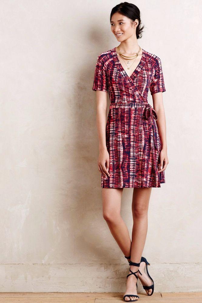 356130cc0809c0 Anthropologie Dress TART CORDELIA WRAP DRESS $138 NWT Tie Dye Print Modal L  #Tart #
