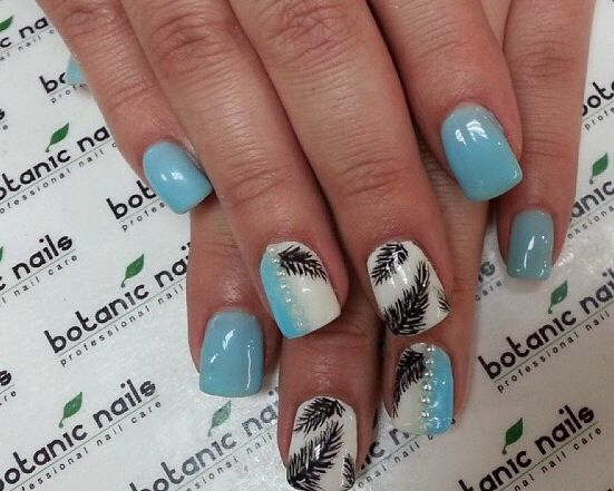Blue black and white feather nails