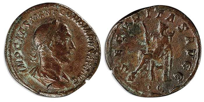 Rome 238, AE Stesterz, Gordianus I. Africanus, Roman emperor time. Av: bust with laurel wreath clockwise. Rev: Securitas with scepter left sitting. Cohen 11, slightly corroded, 19, 2g, ss.