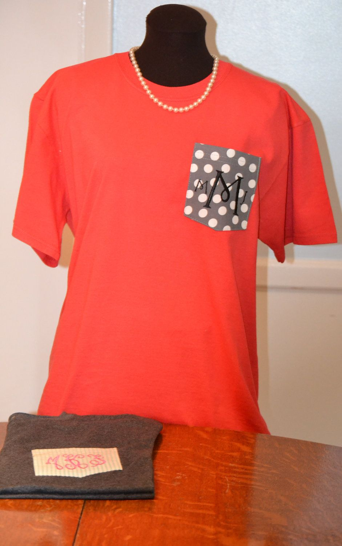 Monogrammed Pocket Tee Shirt Design Your Own 2499 Via Etsy