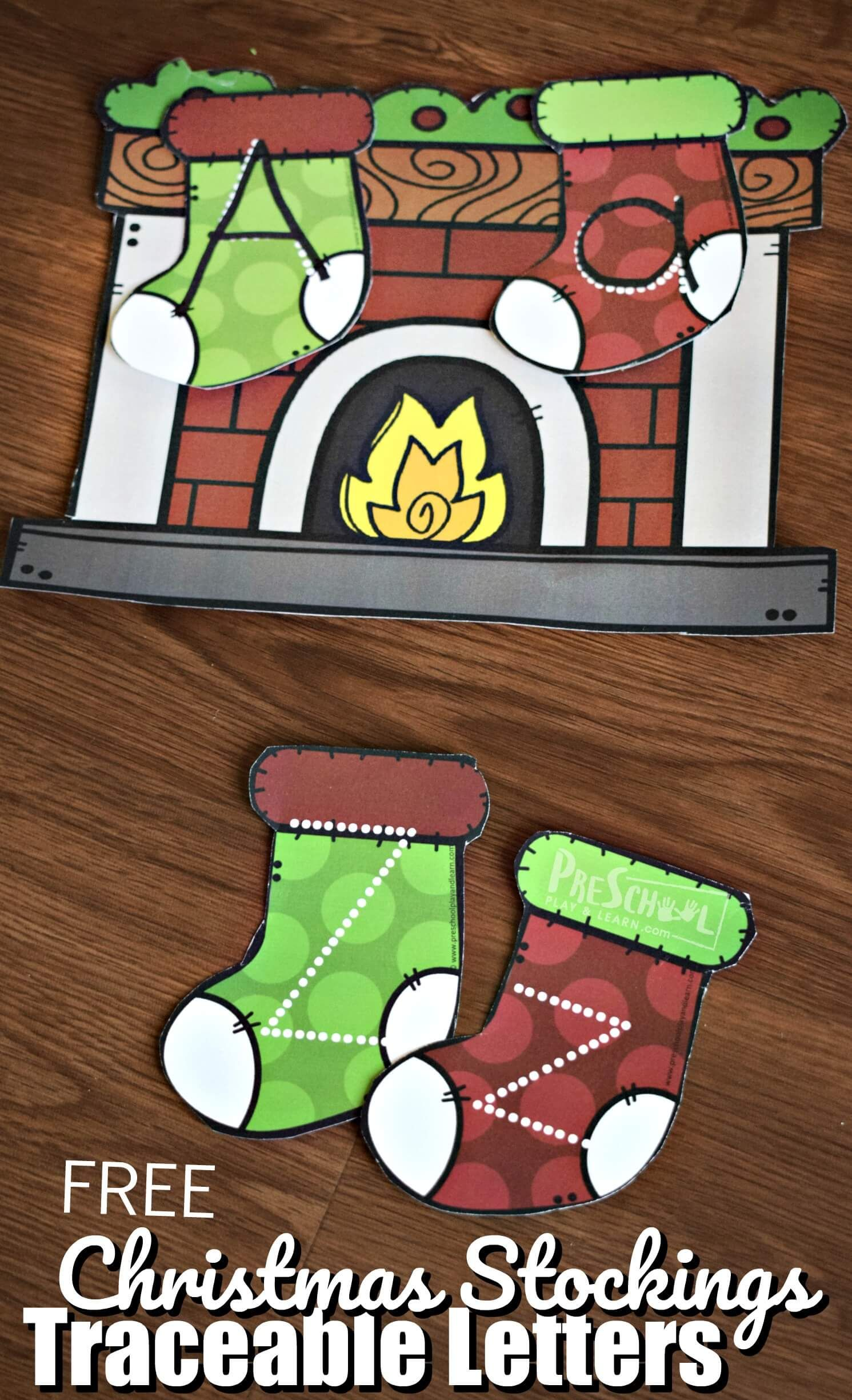 Free Christmas Stocking Traceable Letters