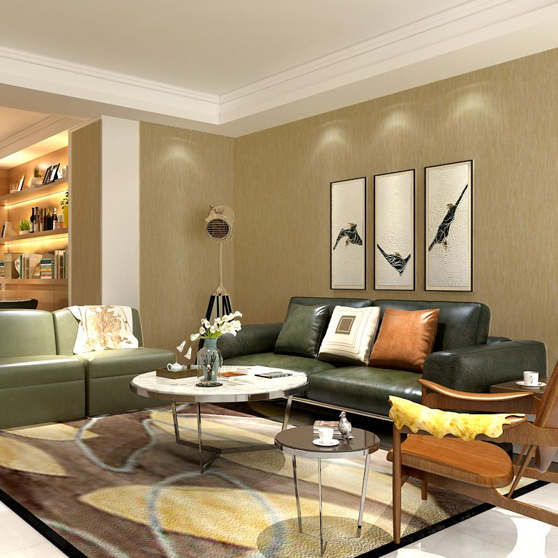 Warm Minimalist Living Room: Beibehang Simple Wild Non-woven Pure Color Living Room