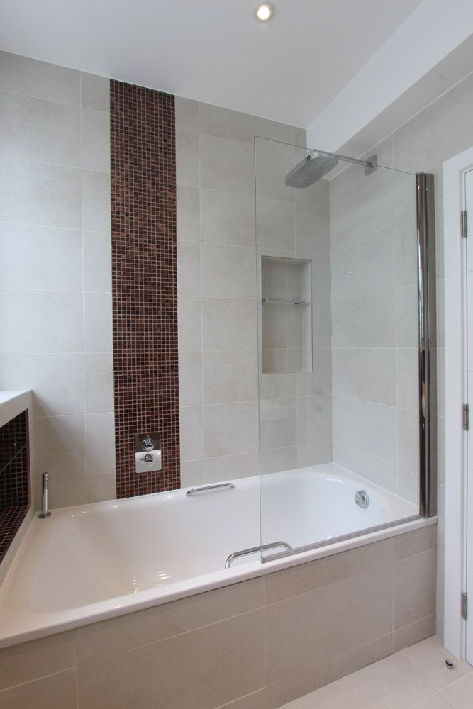 Trendy Family Bathroom With Stone Effect Wall Tiles And Brown Mosaic Feature Residential Tile Family Bathroom Tiles