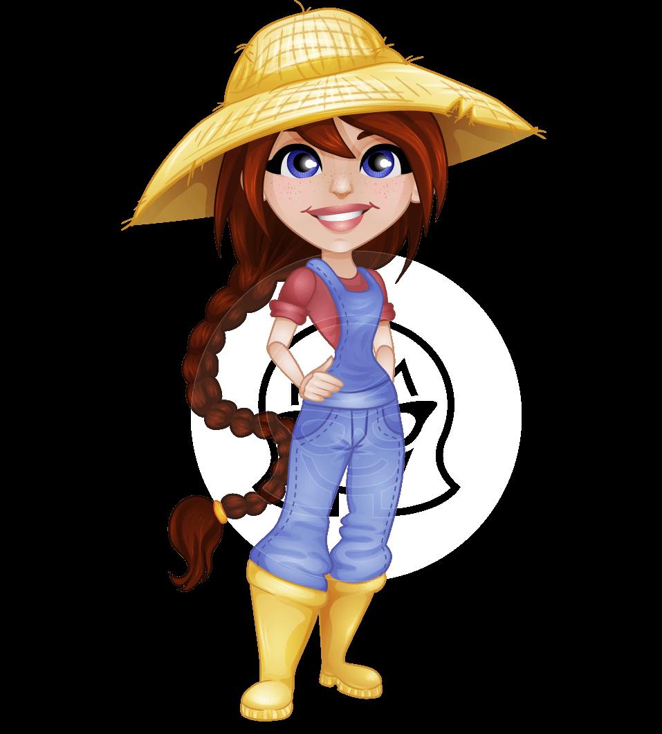 Cute Young Farmer Girl Cartoon Vector Character - 112 ...