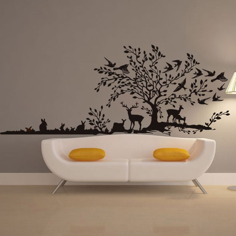Find More Wall Stickers Information About Animal Jungle Deer Birds Rabbit Wall Decals Living Room Wall Stickers Bedroom Wall Decals Living Room Tree Wall Decor #wall #art #decals #for #living #room
