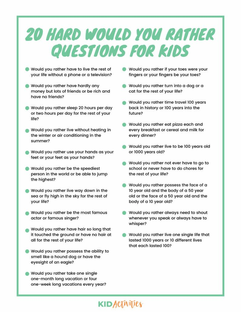 301 Would You Rather Questions for Kids - Kid Activities