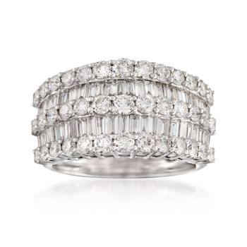 1.04 Ct Round Cut White Natural Diamond Multi Row Band Ring 925 Sterling Silver
