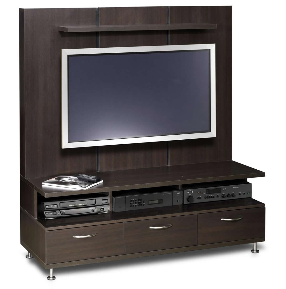 dark painted wood plasma tv stand interior furniture with 3 shelves and storage drawers