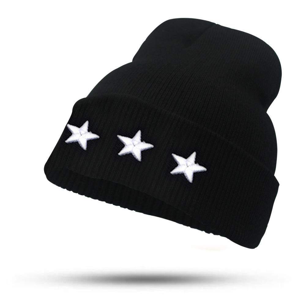 c0fe1d5547b Fine Three-dimensional Five-star Embroidery Hat for Women Girls Men Boys  Knitted Hats
