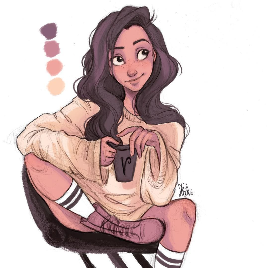 Ahhhh these color pallette challenges are so much fun☕ heres a quick coloring before i go to sleep☁ ninagpineda oc valentina from the feeling✨