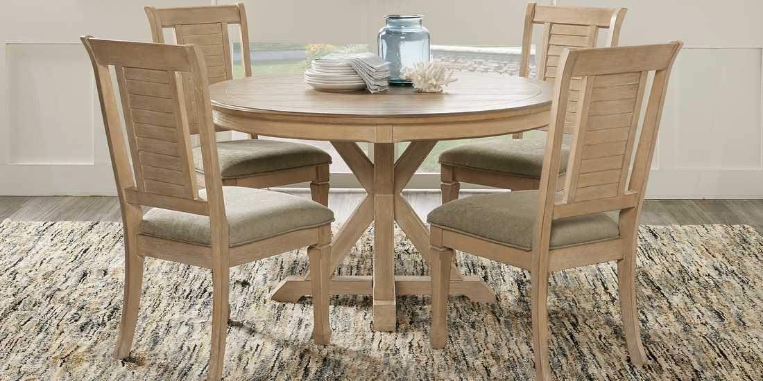 Nantucket Breeze Bisque 5 Pc Pedestal Dining Room Rooms To Go Round Dining Room Round Dining Room Sets Dining Room Sets