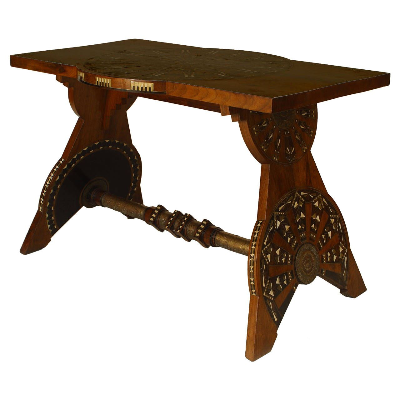 1930s Italian Art Deco Inlaid Rosewood Center Table by Bugatti | From a unique collection of antique and modern center tables at https://www.1stdibs.com/furniture/tables/center-tables/