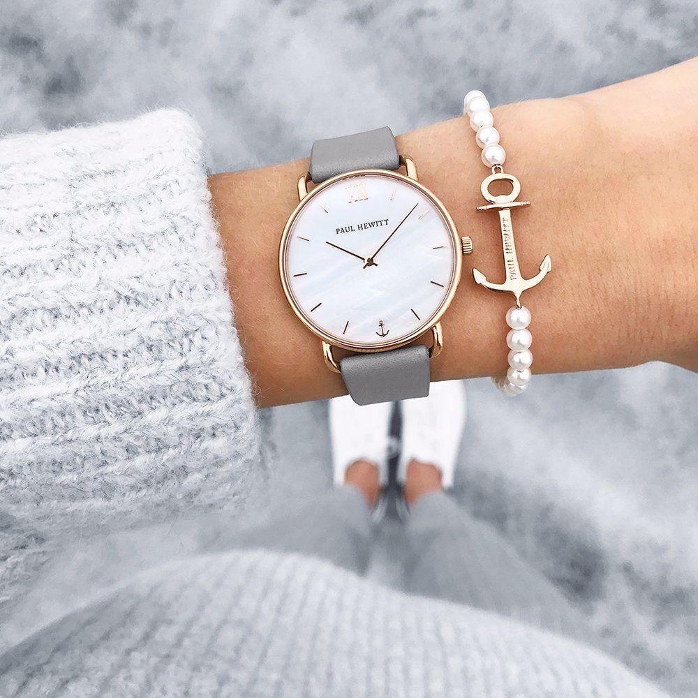 Paul Hewitt Damen Uhr Miss Ocean Line Pearl In Ip Rosegold Mit Lederarmband In Graphite Uhrstory In 2020 Women Wrist Watch Paul Hewitt Gold Leather