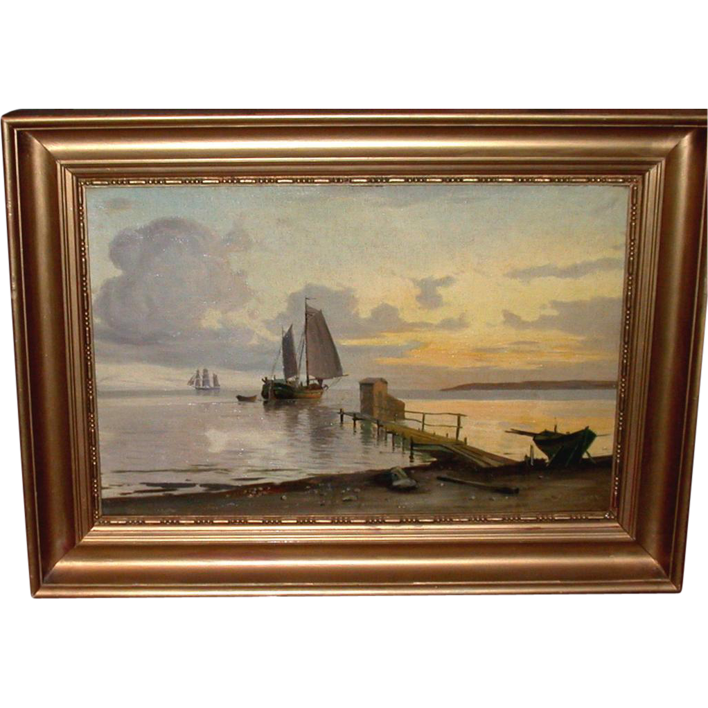 Antique Oil Painting On Wooden Board Sailing Boats Near