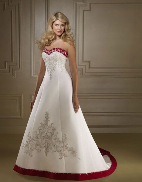 Strapless Red and White Ball Gown Bridal Gowns Wedding Dresses ...