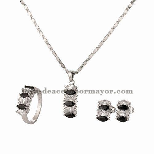 juego de collar y aretes y anillo de cristal de plateado para mujer-BRNEG101134