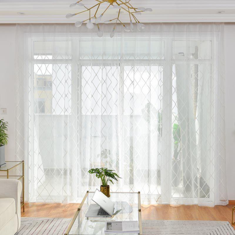 Moderne Gardine Raute Muster In Weiss Zu Gunstigen Preisen Kaufen