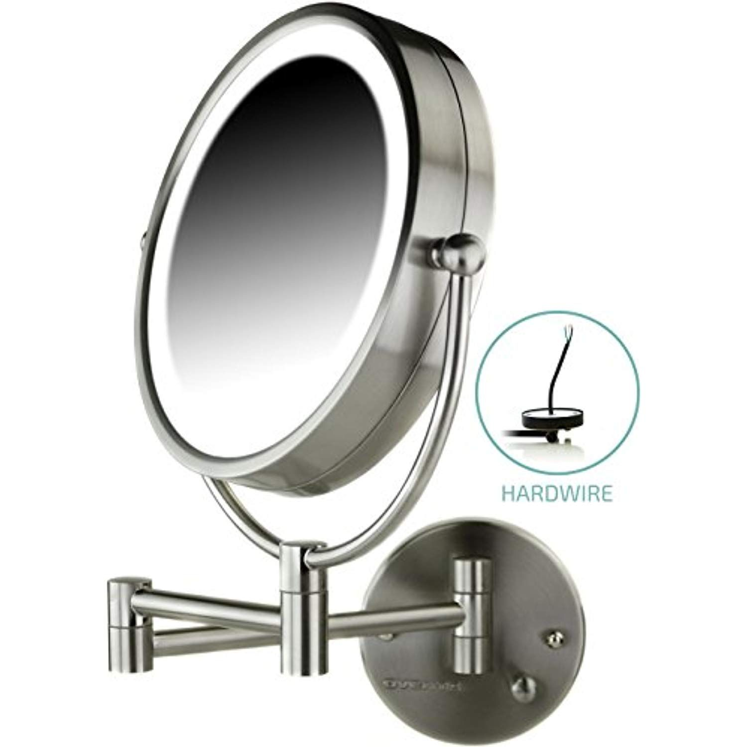 Ovente Lighted Wall Mount Mirror 8 5 Inch Dual Sided 1x 7x