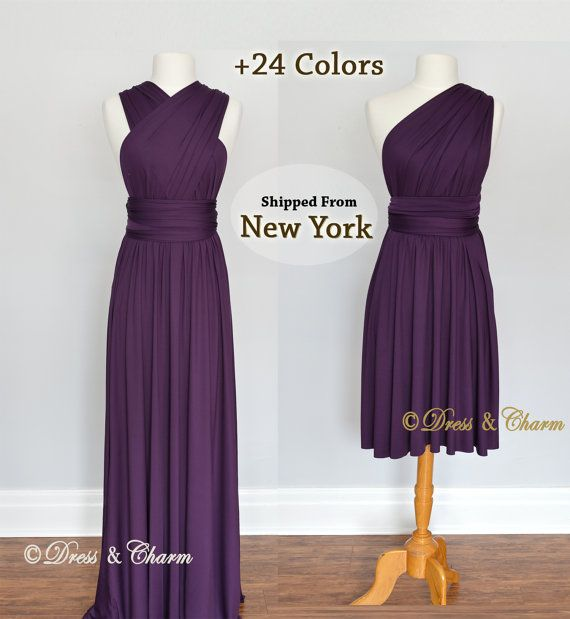 Dark Purple Bridesmaid Dresses, gown convertible dress, infinity ...