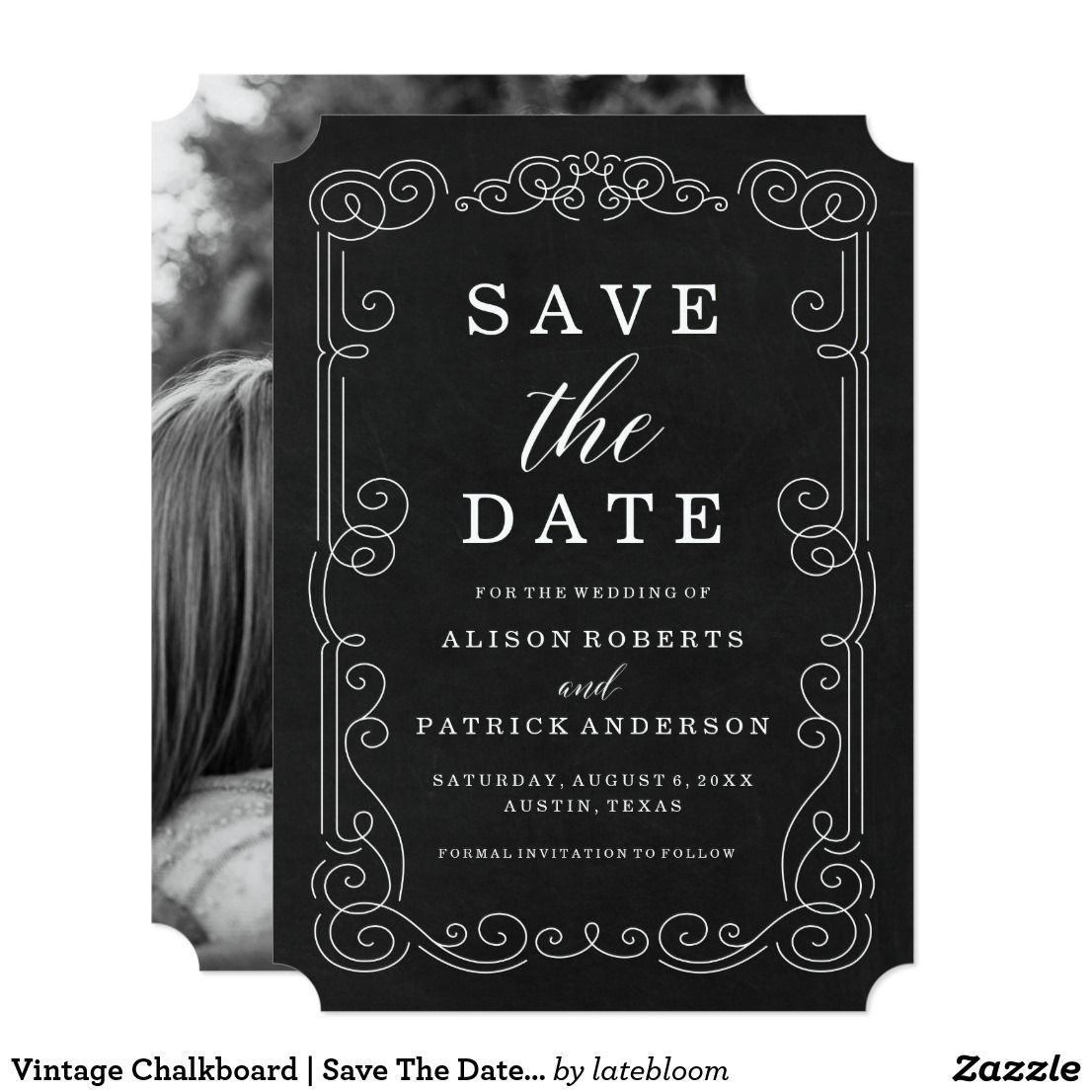 Vintage Chalkboard Save The Date Photo Card Set The Tone For Your