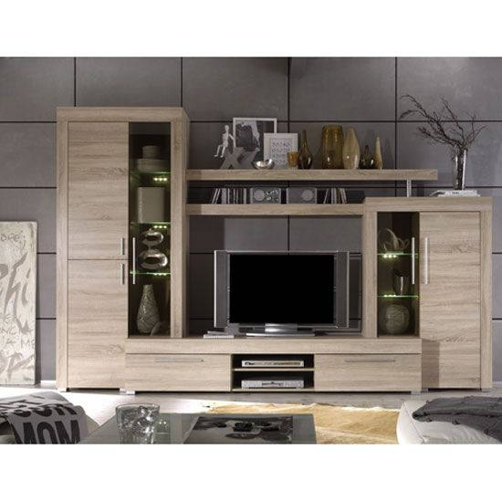 Boom Living Room Set In Oak With Led Lights 23745 Furniture Beauteous Living Room Cupboard Furniture Design Design Ideas