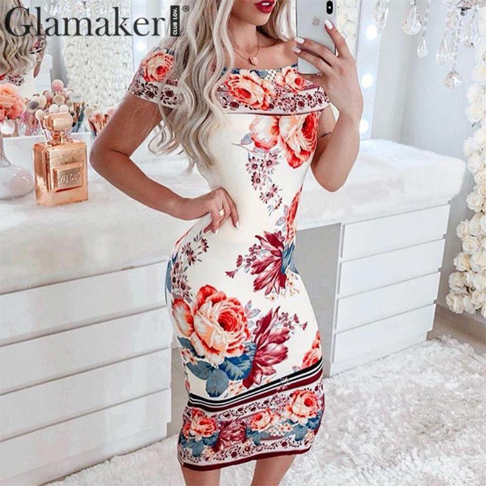 6ee96eea6d Glamaker Sexy off shoulder floral print midi dress Women bodycon beach  elegant boho dress Summer party