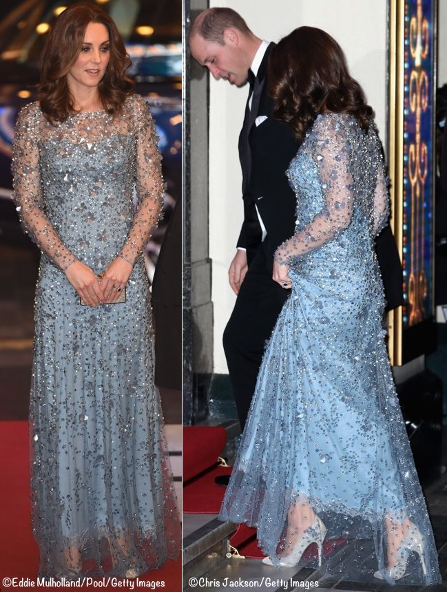 Kate Glittered In A New Jenny Packham Gown At This Evening S Royal Variety Performance The Start Of Was Delayed Because Security