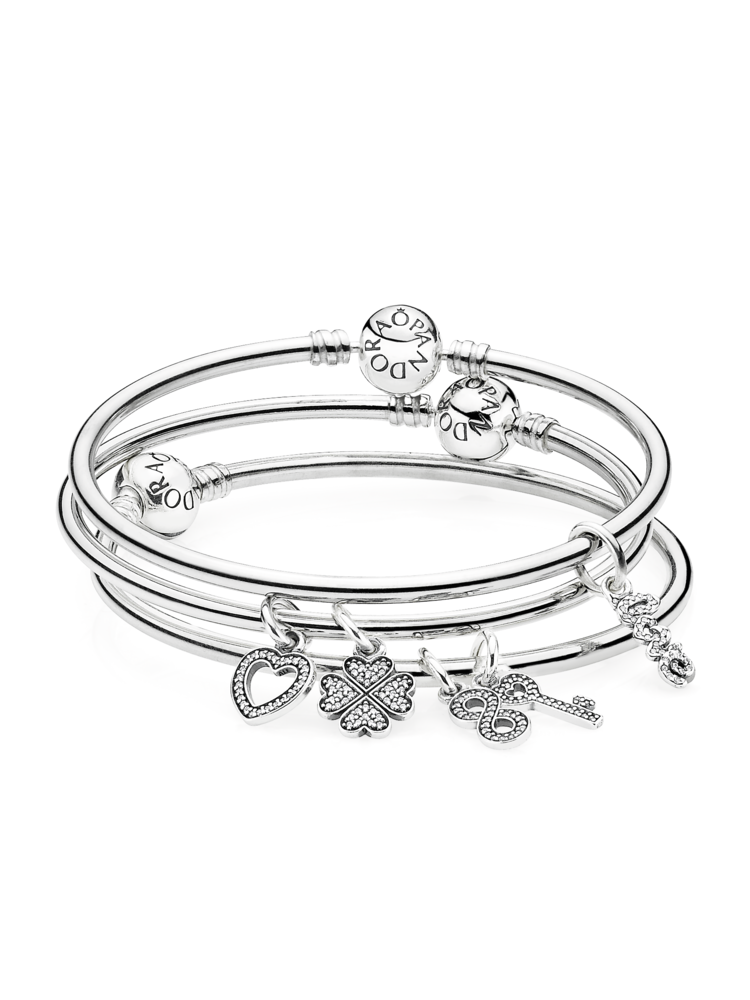 Pandora S Clic Sterling Silver Bangle Bracelets Are Perfect For Stacking Fill Up Your Arms With
