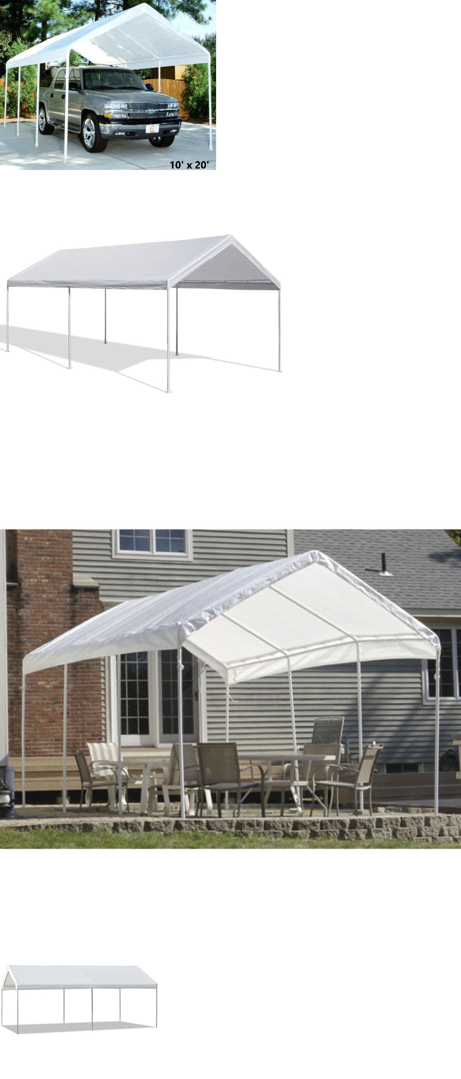 White Garage Canopy Tent 10x20 Ft Steel Carport Portable Car Shelter Side Valanc Ebay Canopy Tent Car Shelter Steel Carports