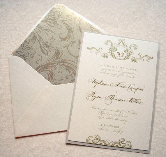 Invitations Set Tone Timeless: FLOURISH MONOGRAM IVORY AND GOLD WEDDING INVITATION This