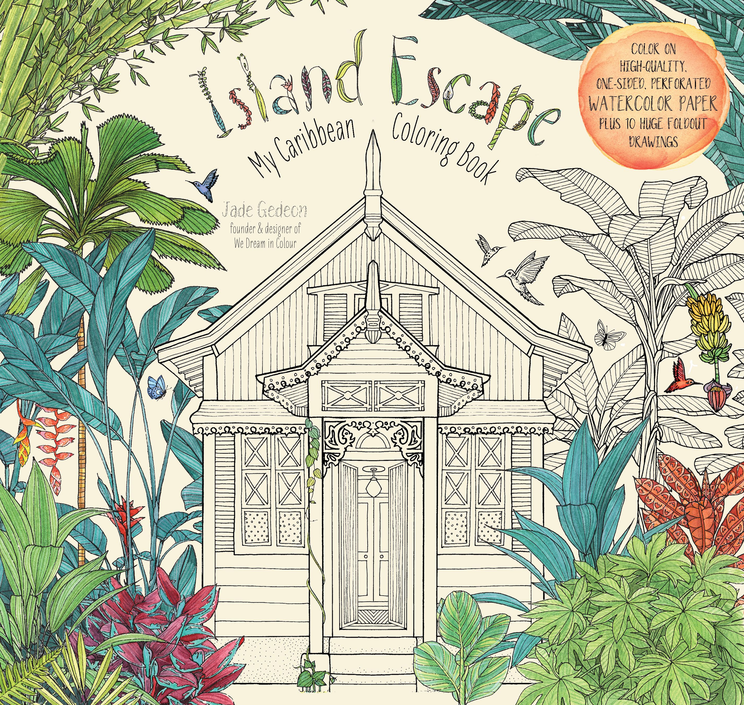 Watercolor paper coloring book - Island Escape Adult Coloring Book Printed On High Quality Thick Watercolor Paper That Highlights The
