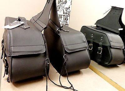 Saddlebag Luggage Set for Motorcycle 2 PC Black Waterproof – Leather Place